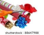 Festive colorful wrapping paper for Christmas or other special events - stock photo