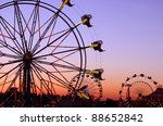carnival rides at the state fair | Shutterstock . vector #88652842