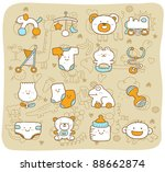 mocha series    baby icon set | Shutterstock .eps vector #88662874