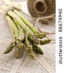 Green asparagus on table, selective focus - stock photo