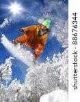 snowboarder jumping against... | Shutterstock . vector #88676344