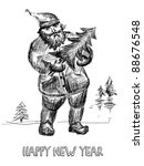 hand drawn  santa claus with... | Shutterstock .eps vector #88676548