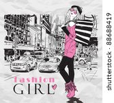 fashion girl in sketch style on ... | Shutterstock .eps vector #88688419
