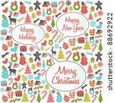christmas pattern with speech...   Shutterstock .eps vector #88692922