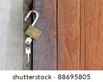 wooden doors un locked | Shutterstock . vector #88695805