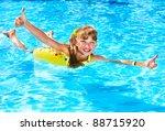 children sitting on inflatable... | Shutterstock . vector #88715920