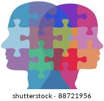 Stock vector man and woman profiles face opposite ways in couple problem jigsaw puzzle 88721956