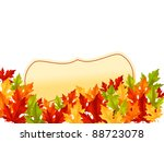 Autumn falling leaves on white background with frame for seasonal design. Vector version also available in gallery - stock photo