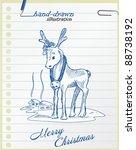 christmas deer   hand drawn... | Shutterstock .eps vector #88738192