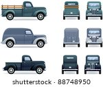 retro pickup truck and van ... | Shutterstock .eps vector #88748950