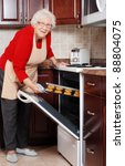 Senior Woman Baking Cookies