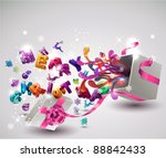 open  gift box with flying ... | Shutterstock .eps vector #88842433