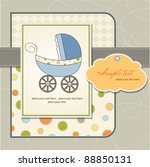 baby card with pram | Shutterstock .eps vector #88850131