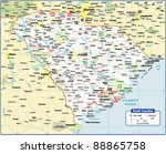 south carolina state map | Shutterstock .eps vector #88865758