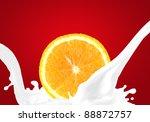 splashing milk with orange | Shutterstock . vector #88872757