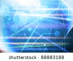 computer motherboard on a blue... | Shutterstock . vector #88883188