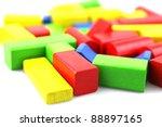 wooden building blocks isolated ... | Shutterstock . vector #88897165