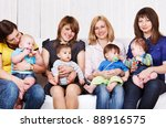 friendly moms with babies | Shutterstock . vector #88916575