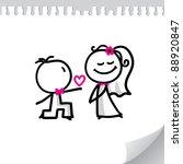 cartoon wedding couple on... | Shutterstock . vector #88920847