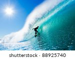 surfer on amazing blue wave | Shutterstock . vector #88925740