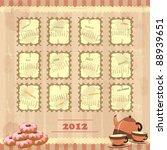 calendar 2012 in vintage design ... | Shutterstock .eps vector #88939651