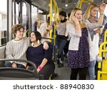 happy couple going by bus with... | Shutterstock . vector #88940830