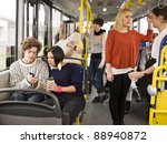 couple going by bus with large... | Shutterstock . vector #88940872
