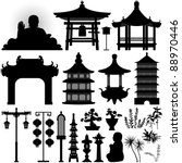 chinese asian temple building... | Shutterstock . vector #88970446