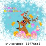 christmas card. gifts and... | Shutterstock . vector #88976668