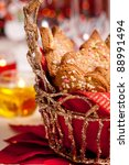 ginger cookies on a festive... | Shutterstock . vector #88991494