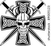 celtic cross with crossed... | Shutterstock .eps vector #89005123