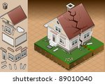 isometric icon hit by house...