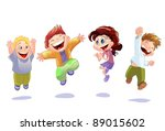 happy kids isolated on white...