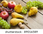 ripe apples  pears and grapes... | Shutterstock . vector #89016589
