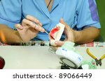 producing dentures, laboratory - stock photo