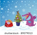 cute dragon  symbol 2012 year ... | Shutterstock .eps vector #89079013