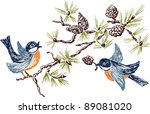 tits on a branch   Shutterstock .eps vector #89081020