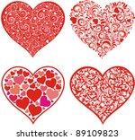 Set Of Hearts. Red Valentine...