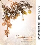 christmas hand drawn background.... | Shutterstock .eps vector #89143771