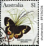 Small photo of AUSTRALIA - CIRCA 1981: stamp printed by Australia, shows butterfly Sword grass brown - Tisiphone abeona, circa 1981