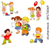 set of colored painted children.... | Shutterstock . vector #89176069