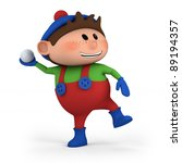 cute cartoon boy throwing snowball - high quality 3d illustration - stock photo