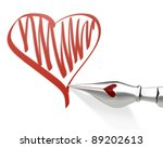 Metal ink pen nib draws heart isolated on white background - stock photo
