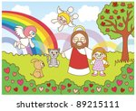 happy christian   religion... | Shutterstock .eps vector #89215111