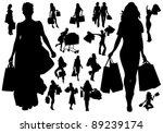 shopping girls | Shutterstock .eps vector #89239174