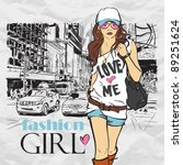 fashion girl in sketch style on ... | Shutterstock .eps vector #89251624