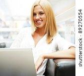 portrait of happy blond woman... | Shutterstock . vector #89270554