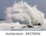 High Wave Breaking On The Rocks ...