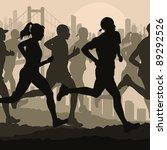Marathon runners in skyscraper city bridge landscape background illustration - stock vector