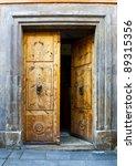 Wooden Open Door With Knockers...